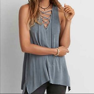 American Eagle Soft and Sexy Lace Up Tank EUC L